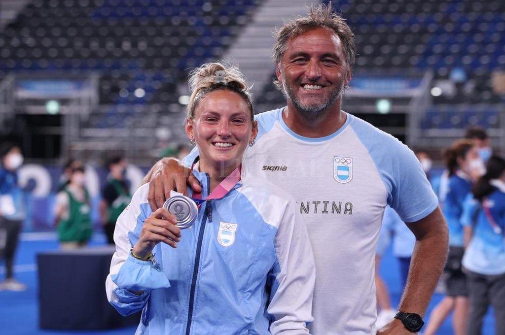 La Leona Micaela con su papá y entrenador, el
