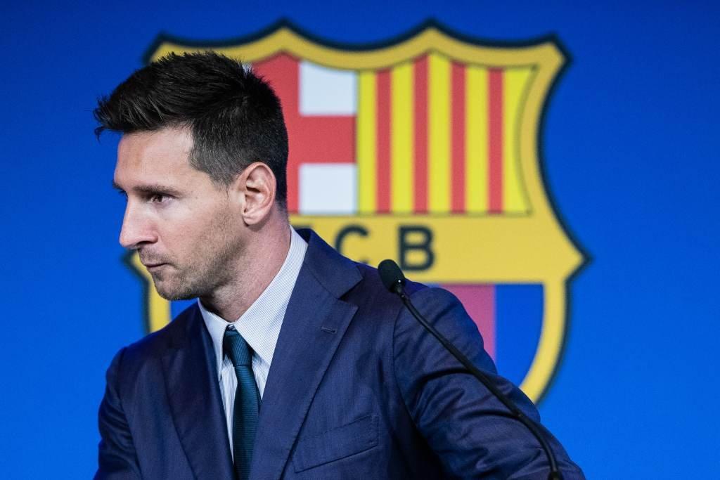 El jugador de Argentina brindó una conferencia de prensa en donde anunció su ida del Barça el 8 de agosto pasado. Foto:Archivo/Xinhua.