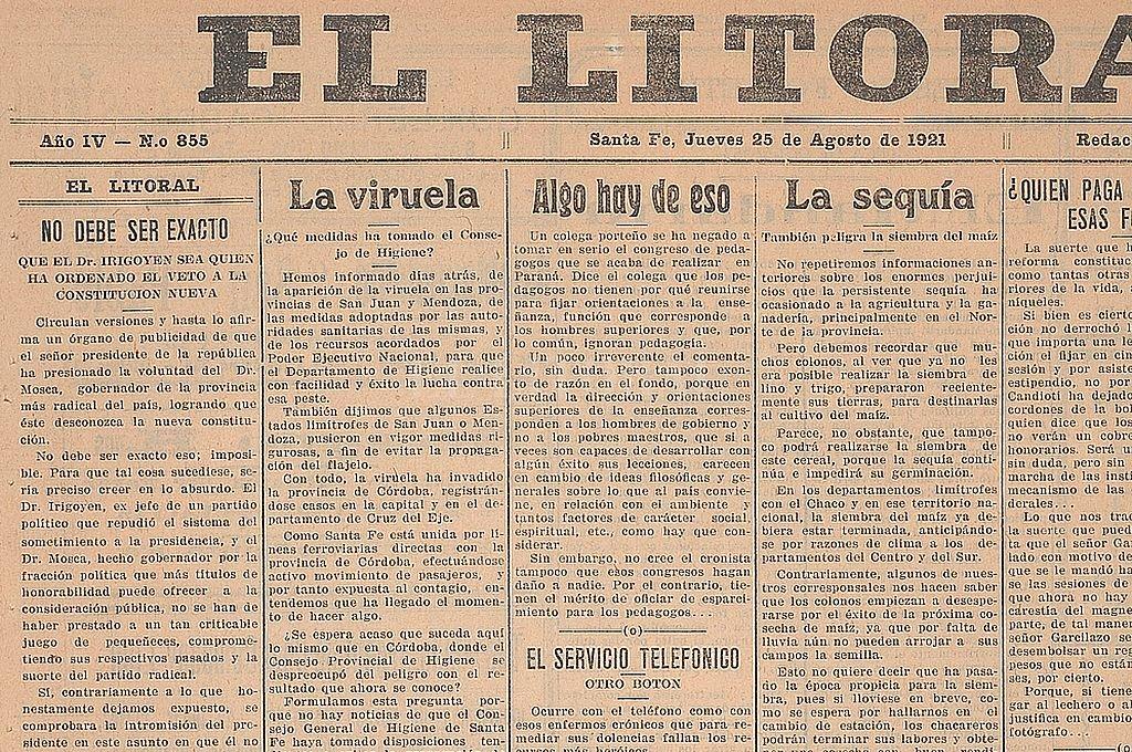 Editorial del diario El Litoral del 25 de agosto de 1921 sobre el rumor de la presión ejercida por el Presidente Irigoyen sobre el gobernador Mosca. Crédito: Archivo El Litoral