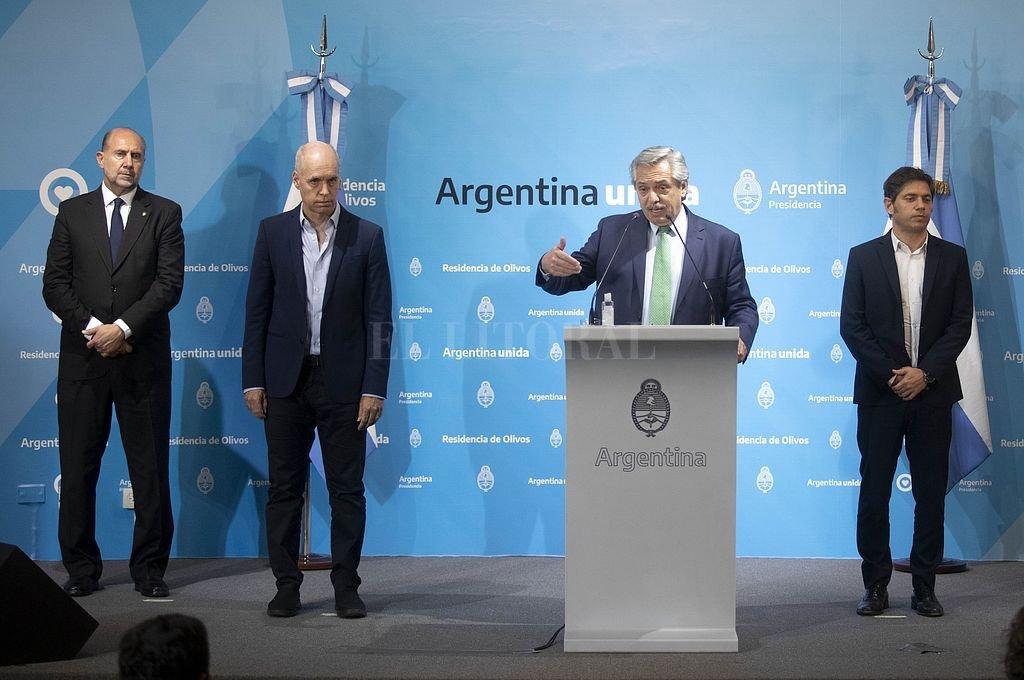 Perotti (Santa Fe), Larreta (CABA), el presidente Alberto Fernández y Kicillof (Provincia de Buenos Aires).| Crédito: Archivo El Litoral