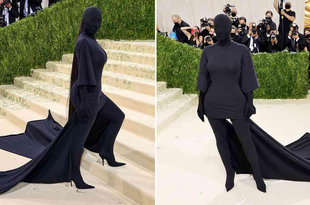 Kim Kardashian lució un atuendo diseñado por Demna Gvasalia de Balenciaga, compuesto por un vestido ajustado, con cola, completamente negro. Crédito: Imagen ilustrativa