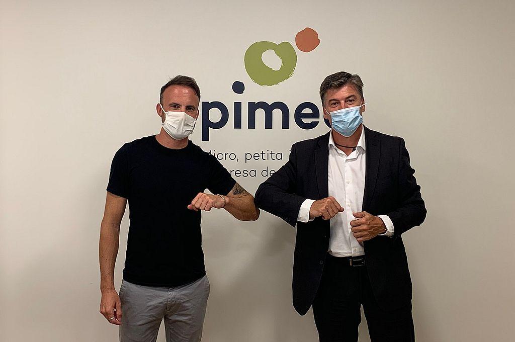 El Ingeniero Fabio Bertona (vocero internacional de Apyme) junto al Secretario General de PIMEC (la organización Pyme Catalana con 600 mil adherentes), Antoní Cañete. Crédito: Gentileza