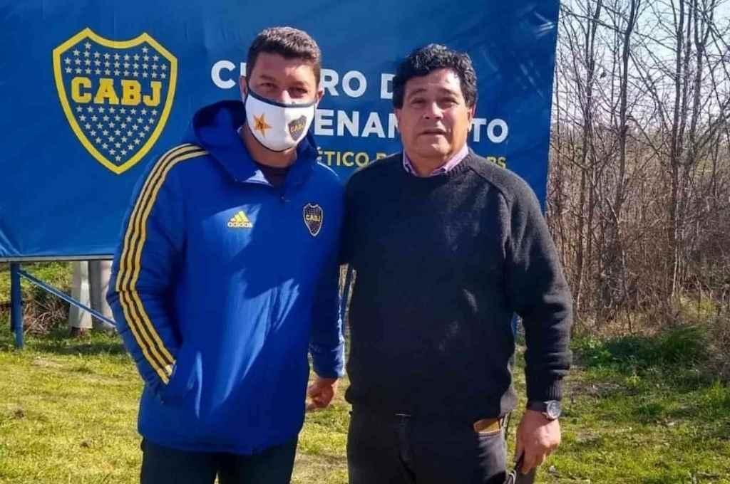 Sebastián Battaglia y Juan Chena, felices por los momentos inolvidables y por el presente del DT de Boca.    Crédito: Gentileza