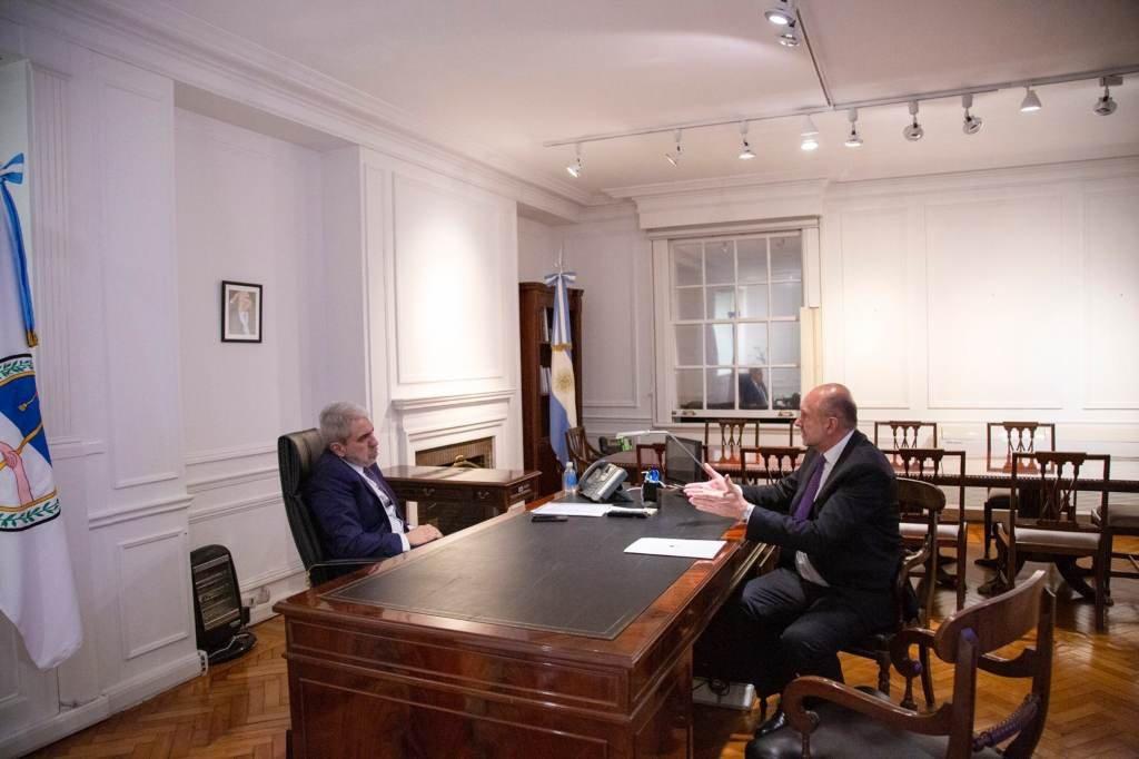 El gobernador se reunió con el ministro de Seguridad de la Nación. Foto:Télam.