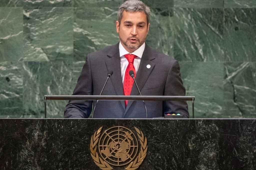 Mario Abdo Benítez, presidente de Paraguay, en su discurso ante la Asamblea General de la ONU.    Crédito: Gentileza