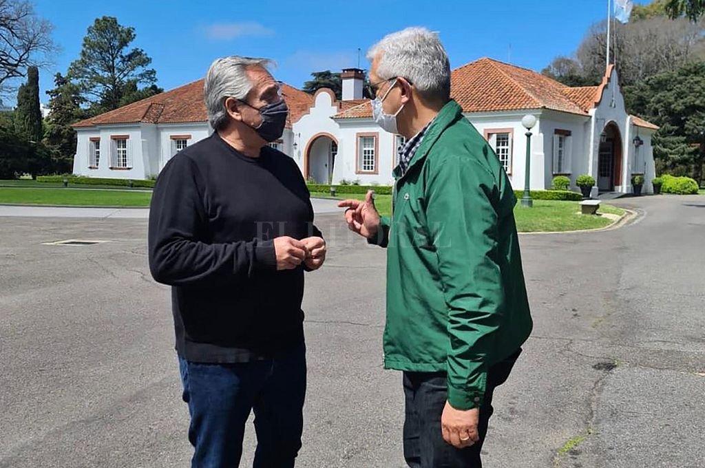 Julián Domínguez se reunió este sábado con el presidente Alberto Fernández. Crédito: NA