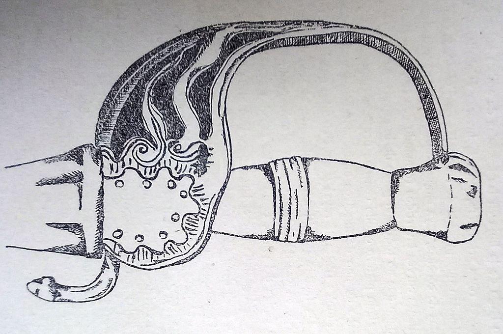 Dibujo que representa la empuñadura de la espada atribuida a Francisco Ramírez que se conserva en el Museo Histórico de Paraná.  Crédito: