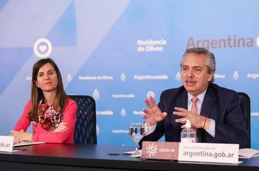 Alberto Fernández y Fernanda Raverta Crédito: Anses