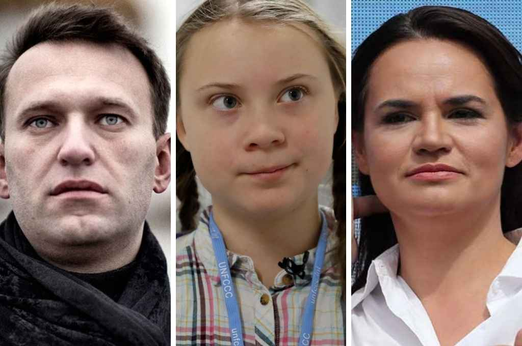 De izquierda a derecha: Greta Thunberg (Suecia), Svetlana Tijanovskaya (Bielorrusia) y Alexey Navalny (Rusia). Según los expertos, son los favoritos para quedarse con el significativo premio.   Crédito: Gentileza