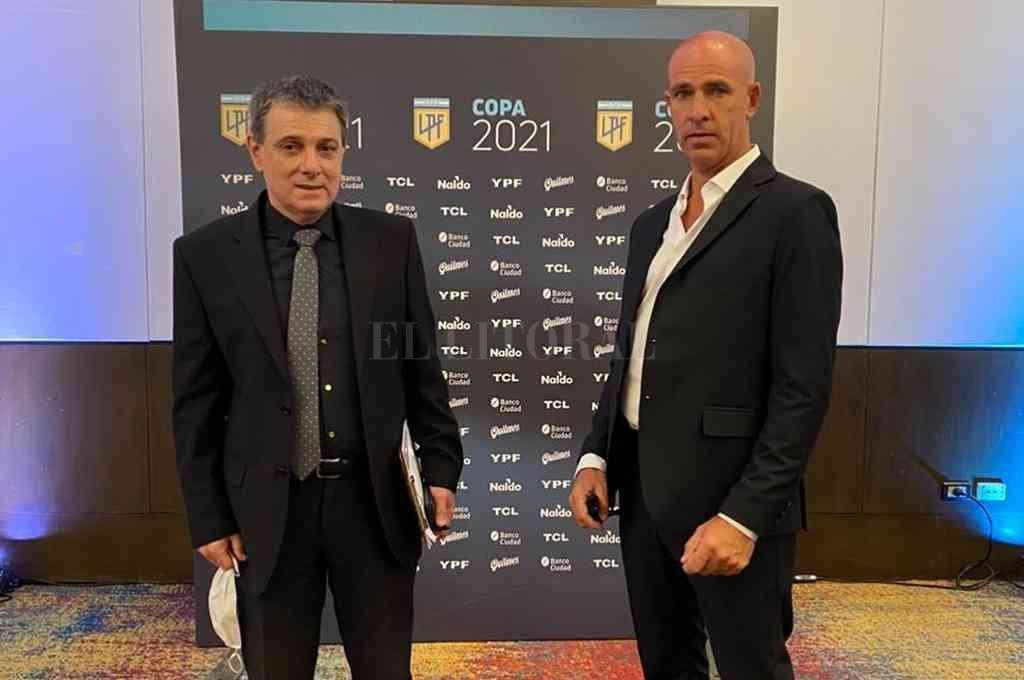 Unión en la Liga. Edgardo Zin, vicepresidente y hombre fuerte en Buenos Aires, junto al histórico Luis SIlva, el famoso