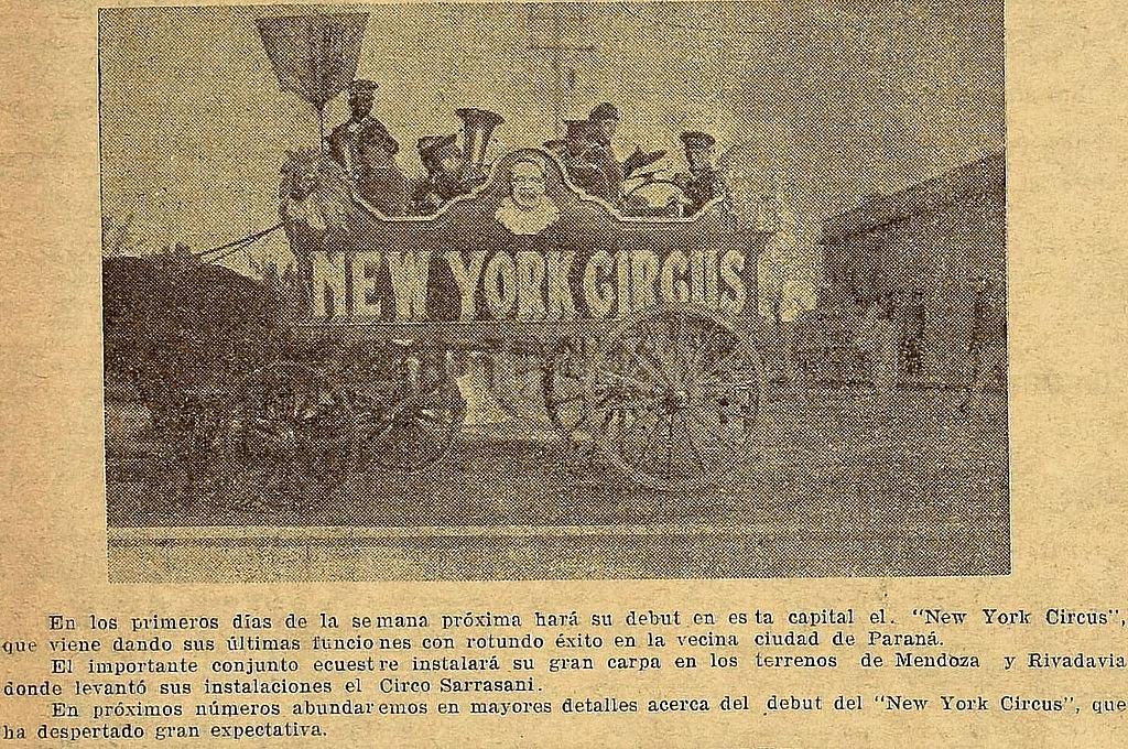 El New York Circus consignaba que venían de una exitosísima gira mundial, y que habían incorporado a su espectáculo los mejores acróbatas, los más divertidos payasos, las bailarinas más hermosas y los animales más feroces. Crédito: Archivo