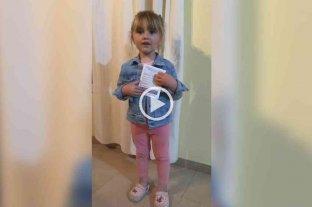 """""""Chau Coronavirus"""", el mensaje de Malena, la nena de 3 años que invita a todos a vacunarse"""